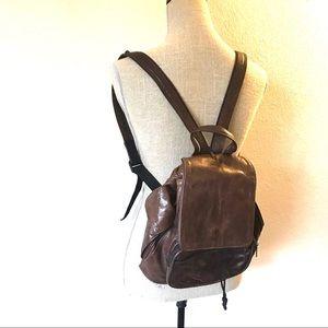 Vintage brown leather 90's back pack